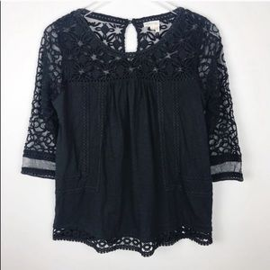 Anthropologie Meadow Rue Lace Blouse Black Top